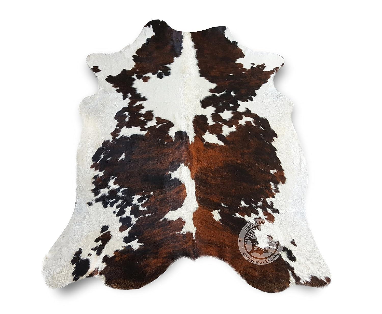 Sunshine Cowhides Teppich aus Kuhfell, Farbe  Tricolor TC6 Größe Circa 180 x 210 cm, Premium - Qualität von Pieles del Sol aus Spanien