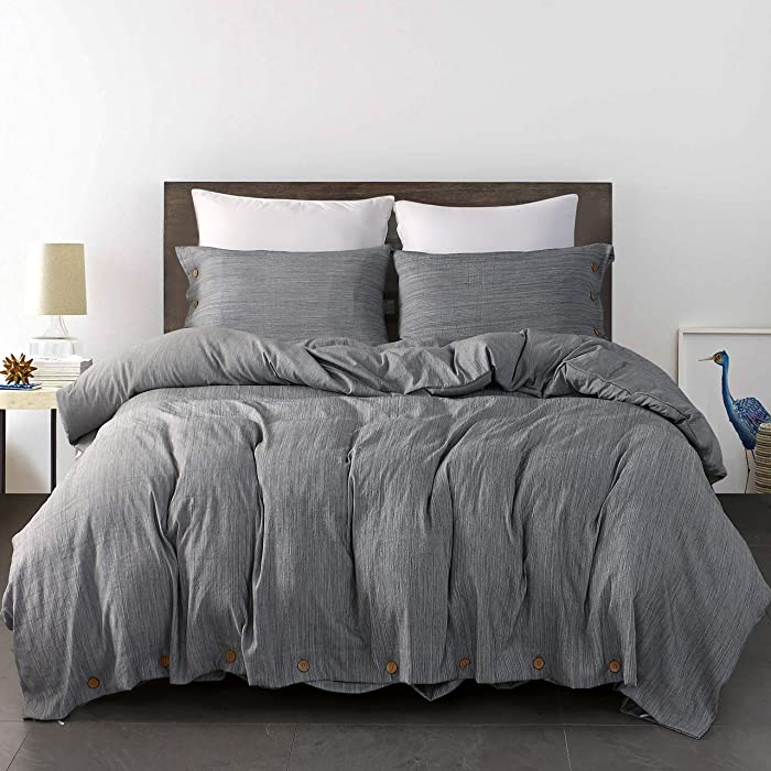 """JELLYMONI Grey Duvet Cover Set,3 Piece Luxury Button Bedding Set,Ultra Soft Breathable Hypoallergenic Microfiber, Easy Care,Simple Style,Solid Gray Duvet Cover Queen Size(90""""x90"""")(No Comforter)"""