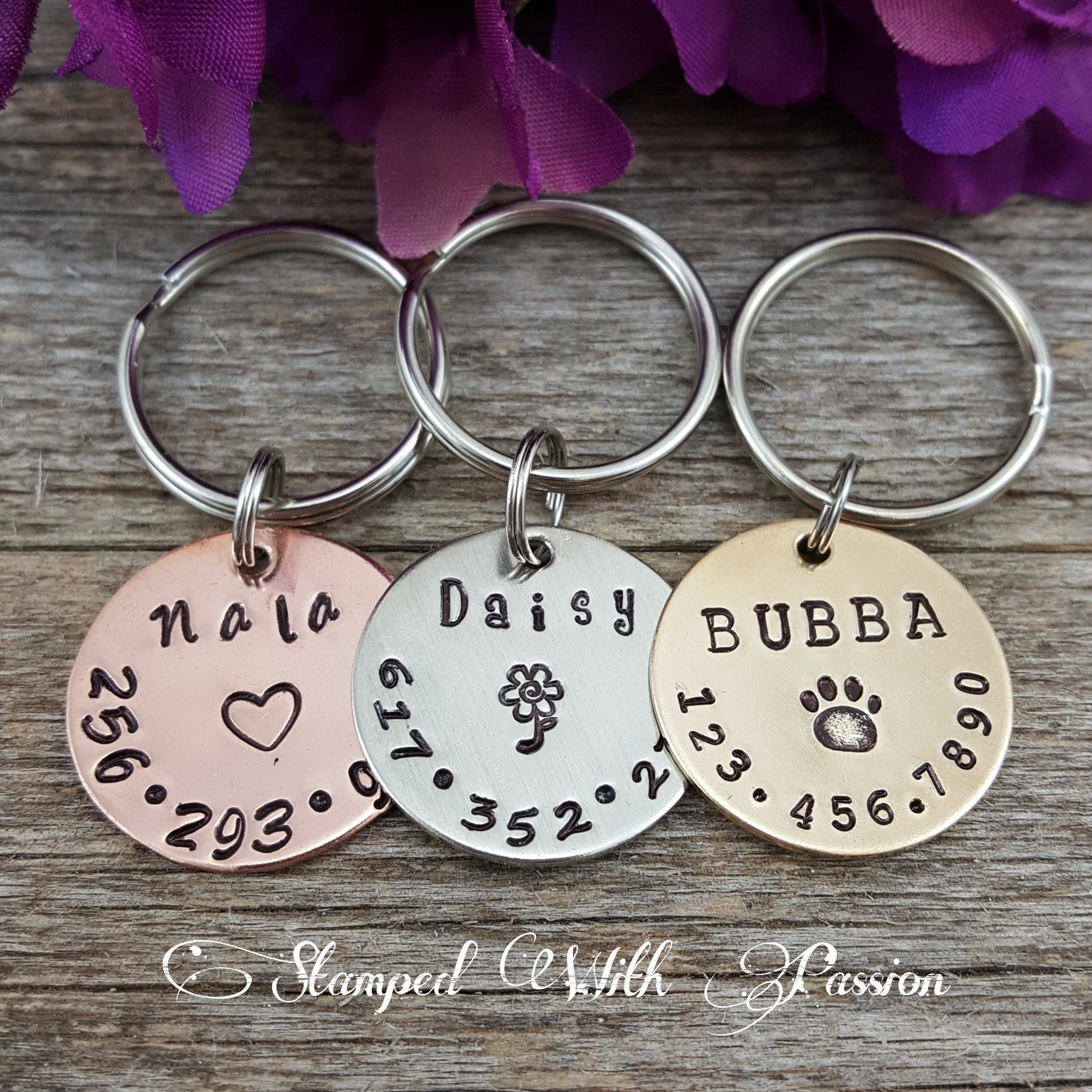 Dog Tag - Dog id Tag - Dog Name Tag - Hand Stamped - Paw Print Dog Tag - Dog tag for Collar - Pet id tag dog - Personalized tag - Custom Tag - Cat id tag - Horse halter tag