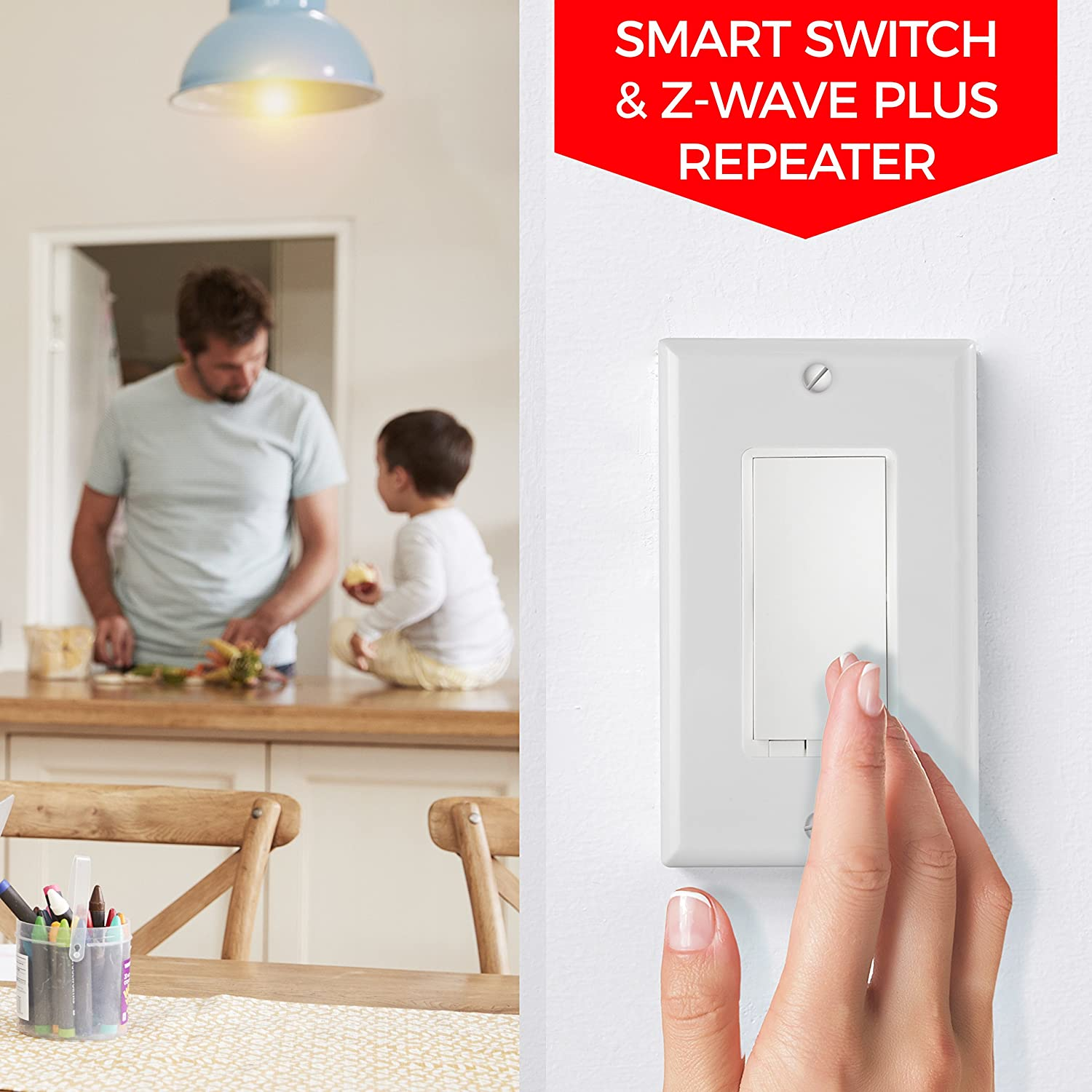 Z Wave Dimmer Switch Built In Repeater Zwave Plus Light And Fan Wiring 2 Switches Also Ceiling 3 Way Wall Paddle Works With Samsung Smartthings Wink Hub Easy 4