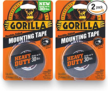 Gorilla 6055016 6055001-2 Heavy Duty Mounting Tape, Double-Sided, 1