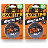 """Gorilla 6055001-2 Double-Sided Heavy Duty Mounting Tape (2 Pack), 1"""" x 60"""", Black"""