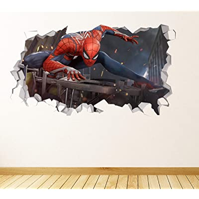 "Spiderman Action Adventure Position Wall Decal Decor Sticker Kids Vinyl Decal 3D - Wall Sticker - Custom Your Photo - JSP1050 (Small 20'W x 12"" H Inches): Home & Kitchen"