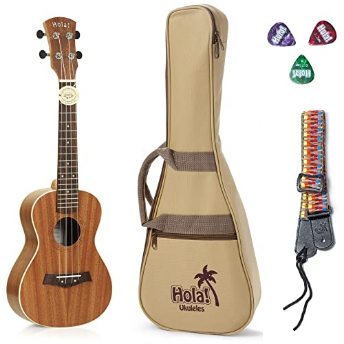 Concert Ukulele Bundle, Deluxe Series by Hola! Music (Model HM-124MG+), Bundle Includes: 24 Inch Mahogany Ukulele