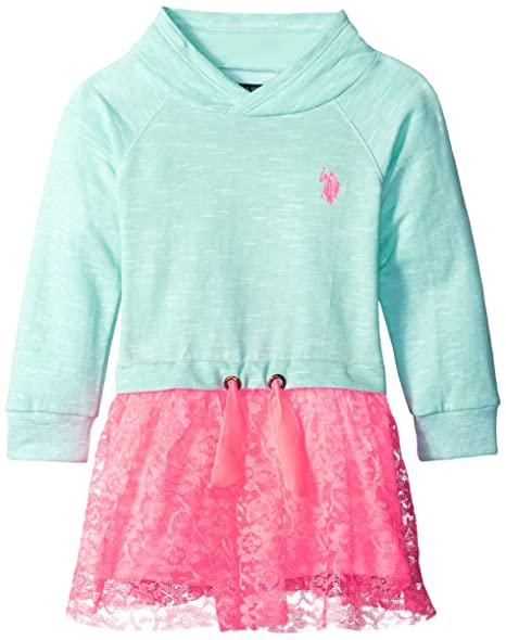 Us Polo Assn Little Girls French Terry And Neon Lace Dress