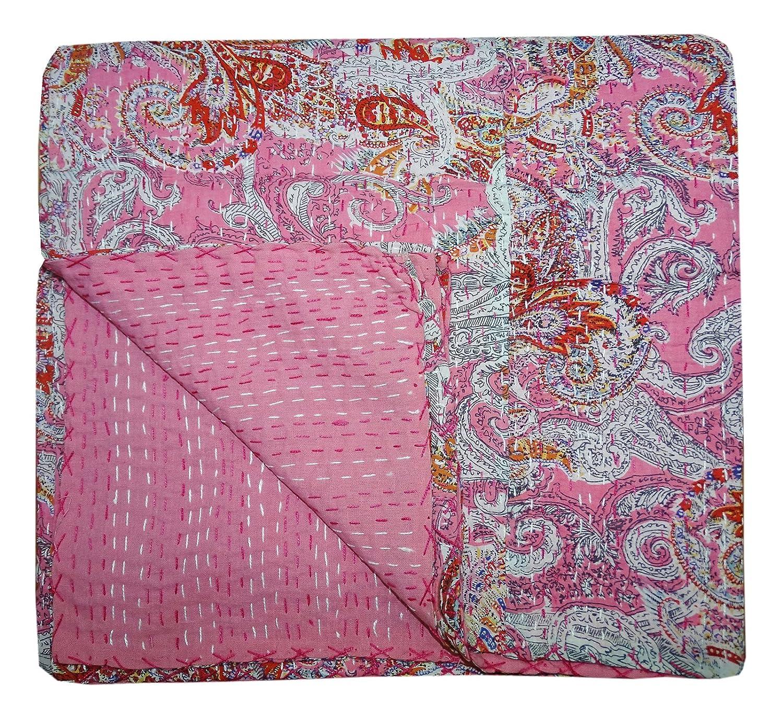 Bhavya International Indian Handmade Ethnic Paisley Cotton Kantha Quilt Single Size Bedspread blanket Gudari Throw Ralli