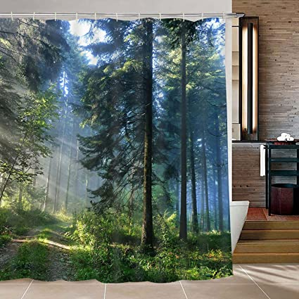 Modern Timesm Bathroom Shower Curtain Misty Forest With 12 Hooks Sunshine Trees
