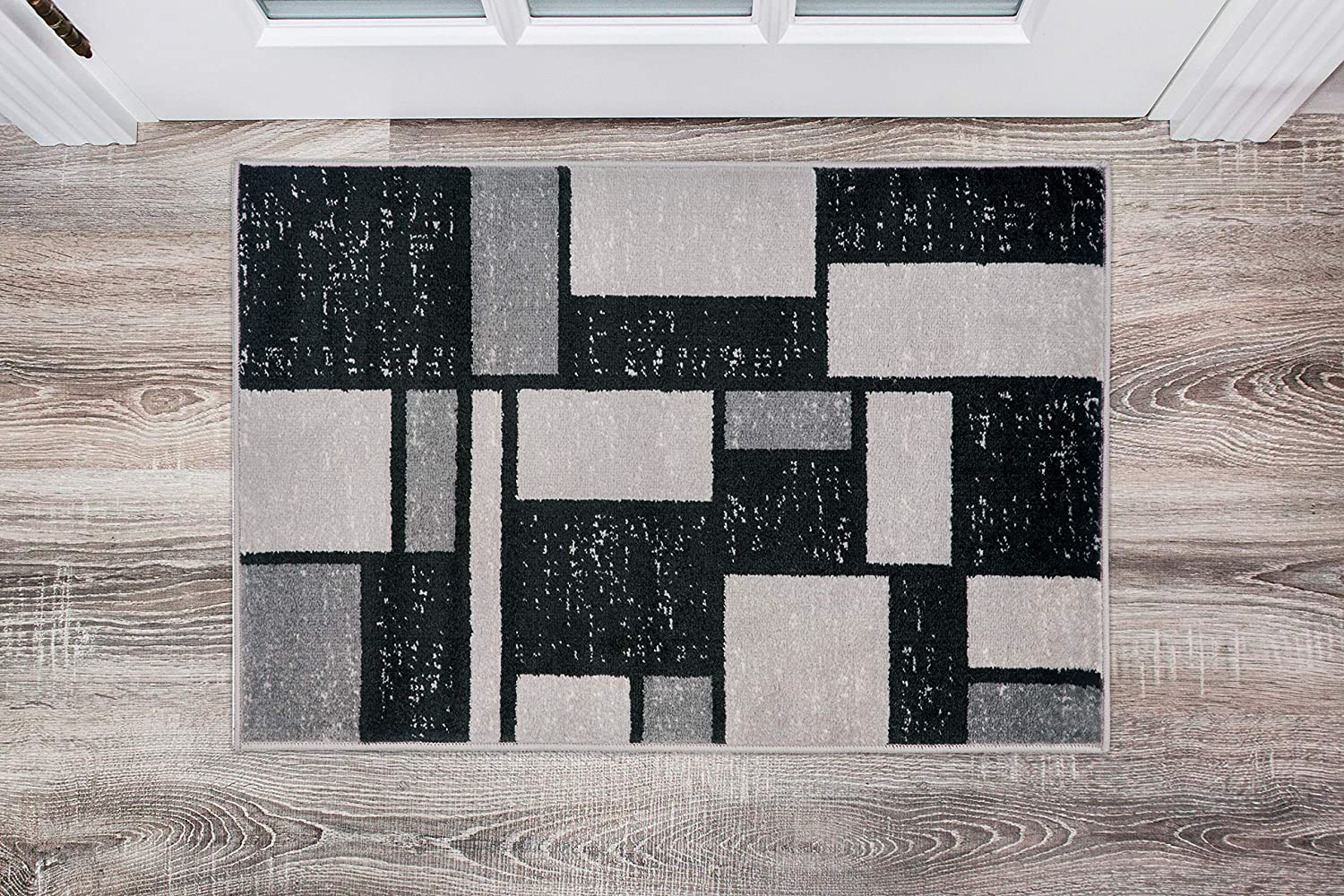 Contemporary Modern Boxes Design Gray Soft 2' x 3' Indoor Area Rug