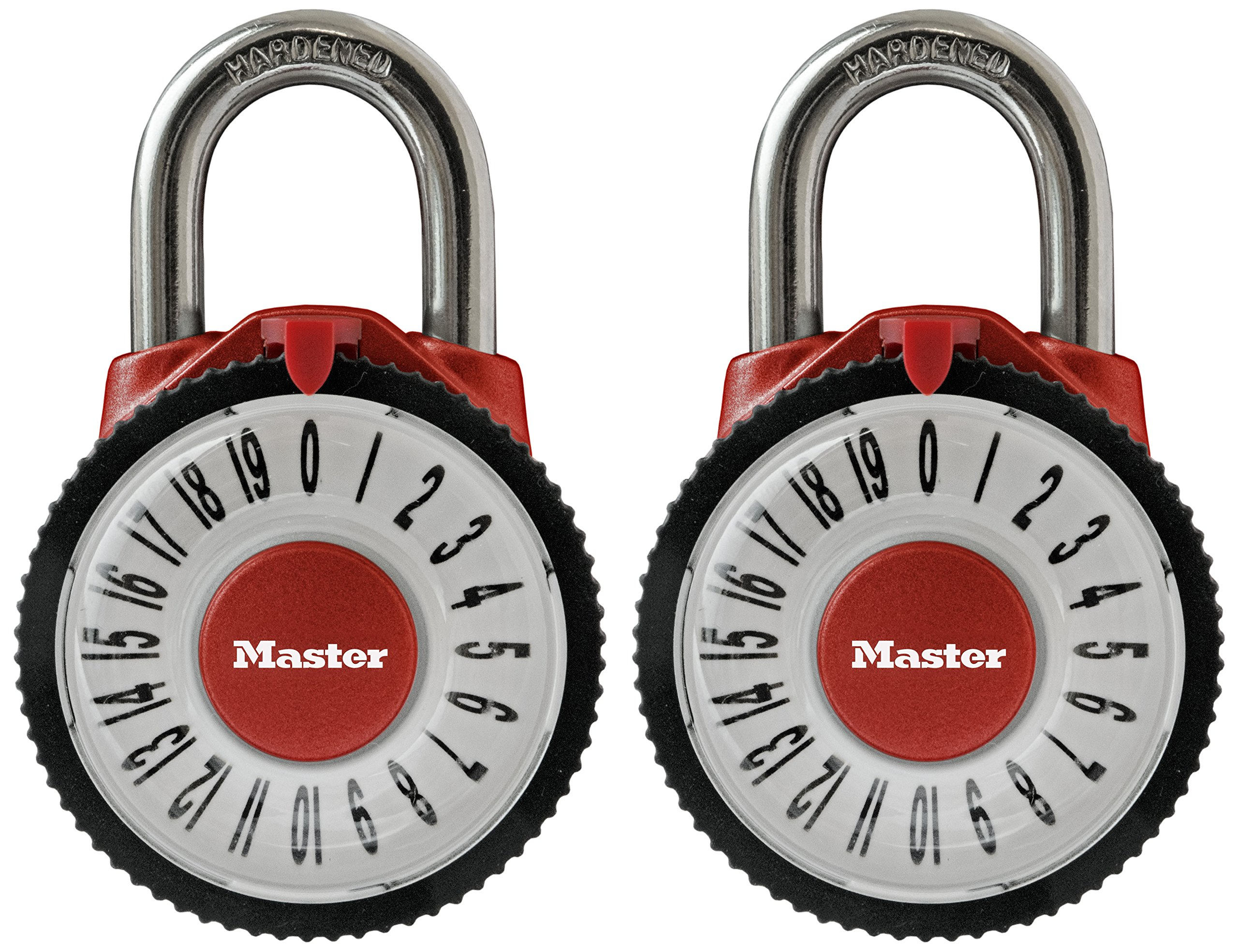 Master Lock Padlock, Standard Dial Combination Lock with Magnification Lens, 2-1/8 in. Wide, Assorted Colors, 1588T (Pack of 2-Combination Alike) by Master Lock (Image #1)