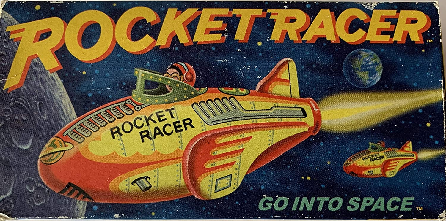 Rocket Racer Vintage 1987 Rocket USA Inc Tin Toy With Friction Power And Engine Sound Shop Stock Room Find 714983309653