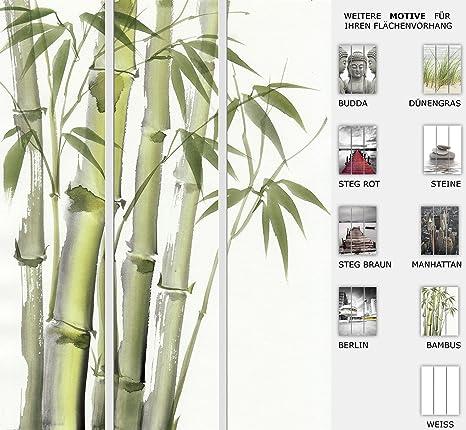 Der Jalousienladen EFIXS 3er Set Flächenvorhang Bambus, Halbtransparent, Maße: 180 x 245cm
