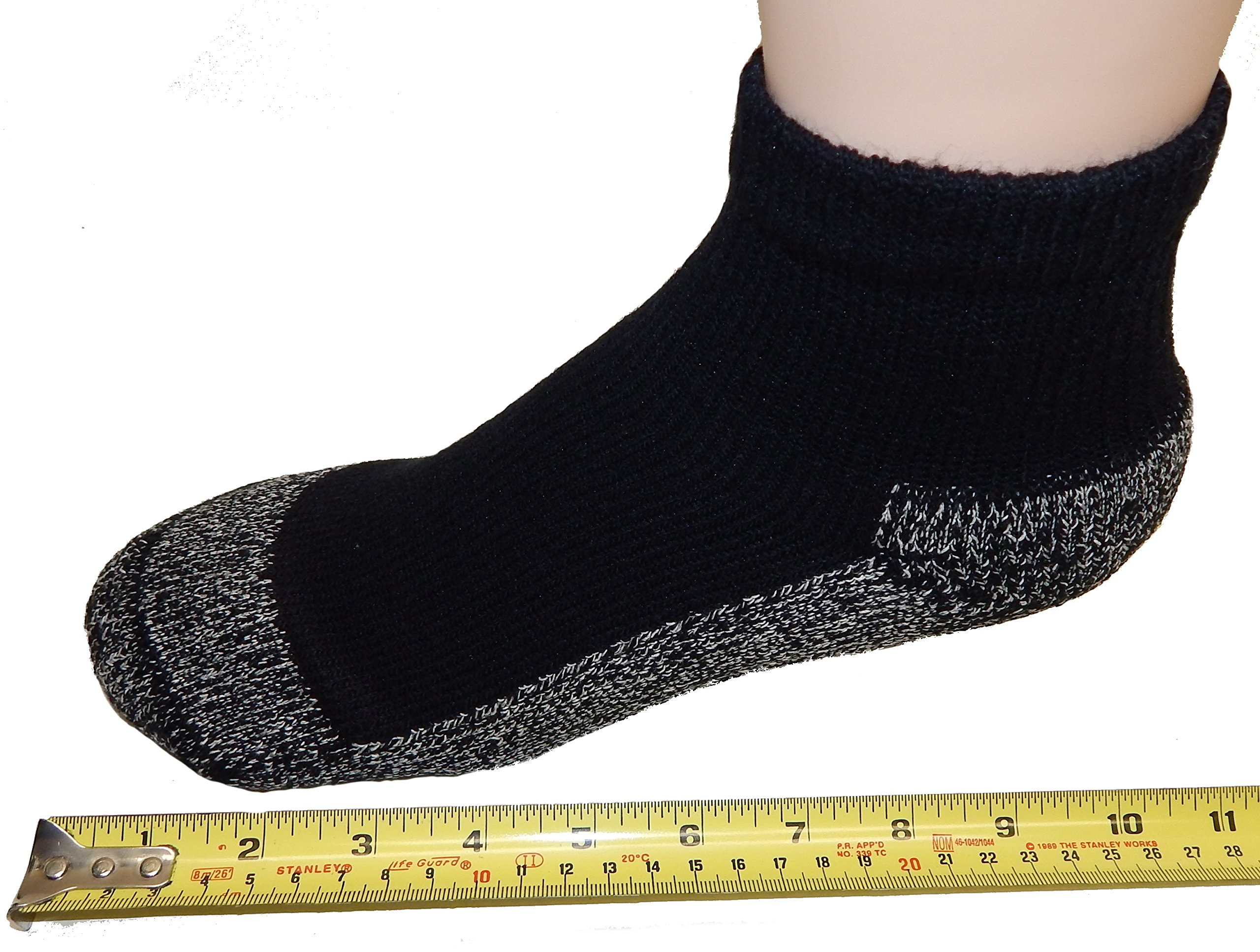 Cushees BLACK Thick Ankle Socks, 3-pack (Men's 166XL)