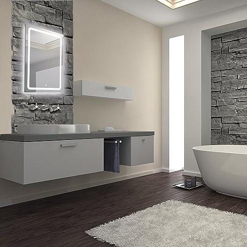 KROLLMANN Badspiegel mit LED-Beleuchtung 50x70cm, Badezimmer ...