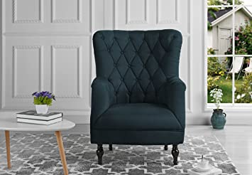 Amazon.com: Plush Classic Tufted Linen Fabric Armchair - Living ...