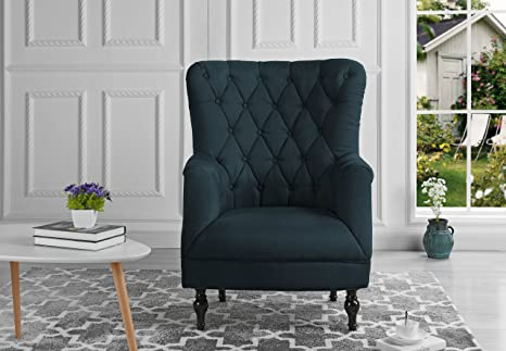 Plush Classic Tufted Linen Fabric Armchair - Living Room Chair (Grey Blue)