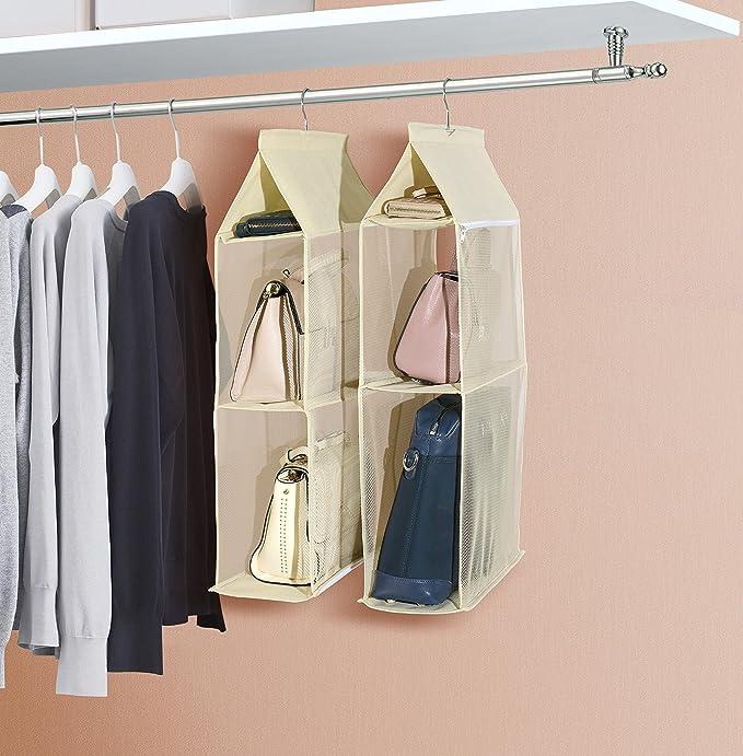 Organizador de armario ropero para colgar compuesto por 4 compartimentos desmontables, transparentes, ahorro de espacio, para uso en hogar, salón, ...
