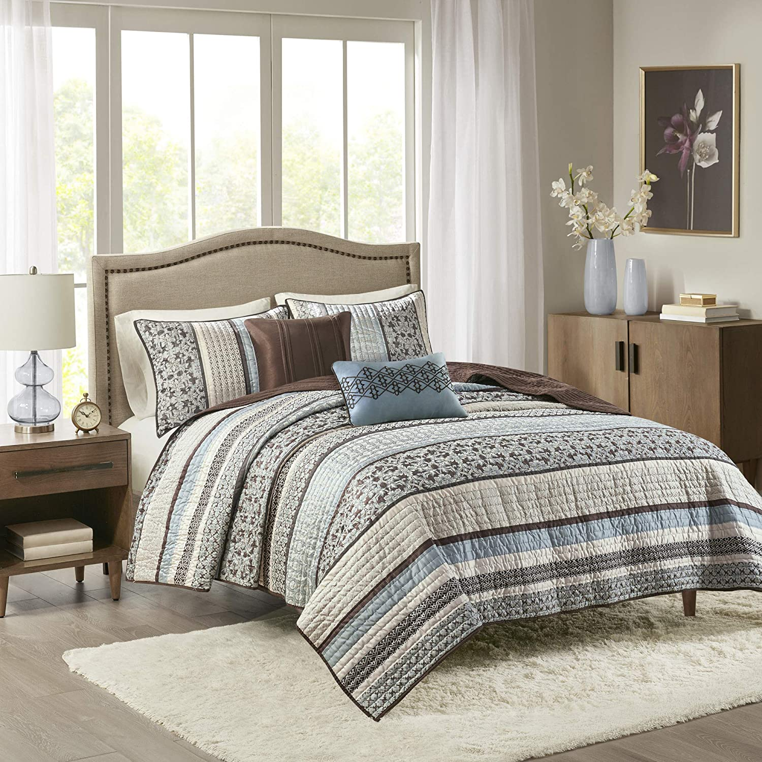Madison Park Princeton 5 Piece Quilted Coverlet Set, Full/Queen, Blue