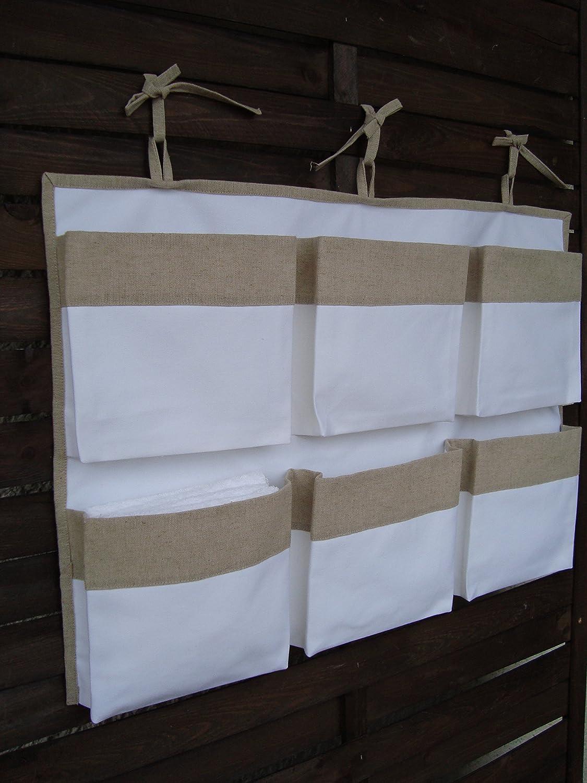 Caddy white organizer, canvas crib storage, linen nursery organizer, girl boy storage bag, nursery accessory, hanging storage