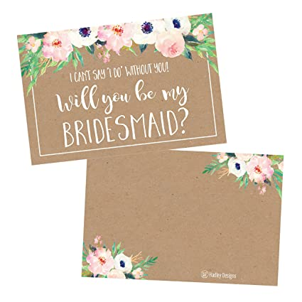 amazon com 15 rusic floral will you be my bridesmaid cards kraft