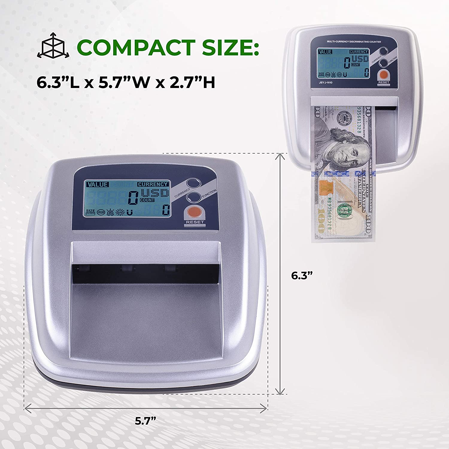 Amazon.com : New Counterfeit Bill Detector & Counter with MG/UV/IR/Size/MS Detection. : Office Products