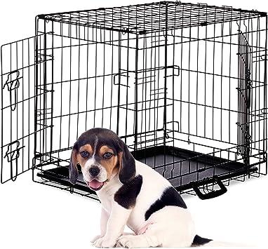 Bodenschale Faltbare Hundetransportbox S-XXXL Welpenk/äfig Drahtk/äfig Metall 2 T/üren Schwarz Relaxdays Hundek/äfig