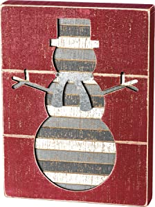Primitives by Kathy Rustic Slat Wood Box Sign, 9 x 12-Inches, Snowman