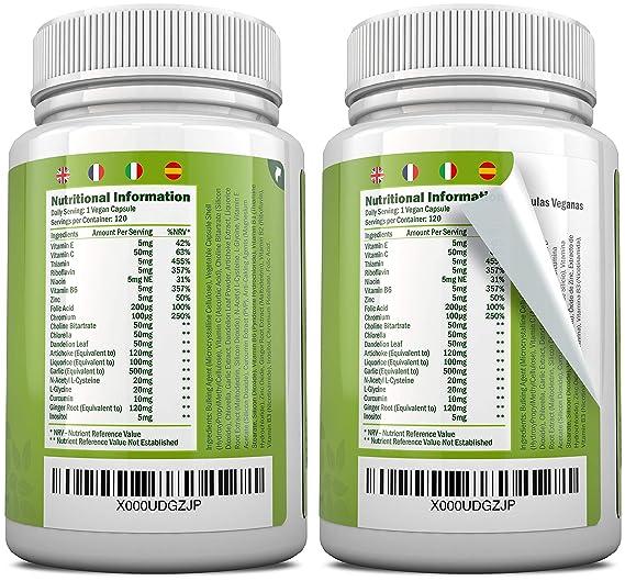 Livactivate Desintoxicador del Hígado con Curcumina | Vegano | Cápsula (no comprimido) Desintoxicante del Hígado | 120 Cápsulas, Contiene 20 Ingredientes ...