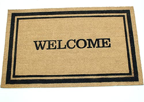 Home Garden Hardware 39688 Welcome w Frame 24×36 Inch Printed Coir Doormat, Medium, Natural