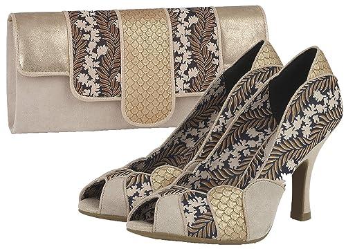 948d2f0bf62ff Ruby Shoo Women's Gold Art Deco Matilda Peeptoe Heels & Matching Canberra  Bag ...