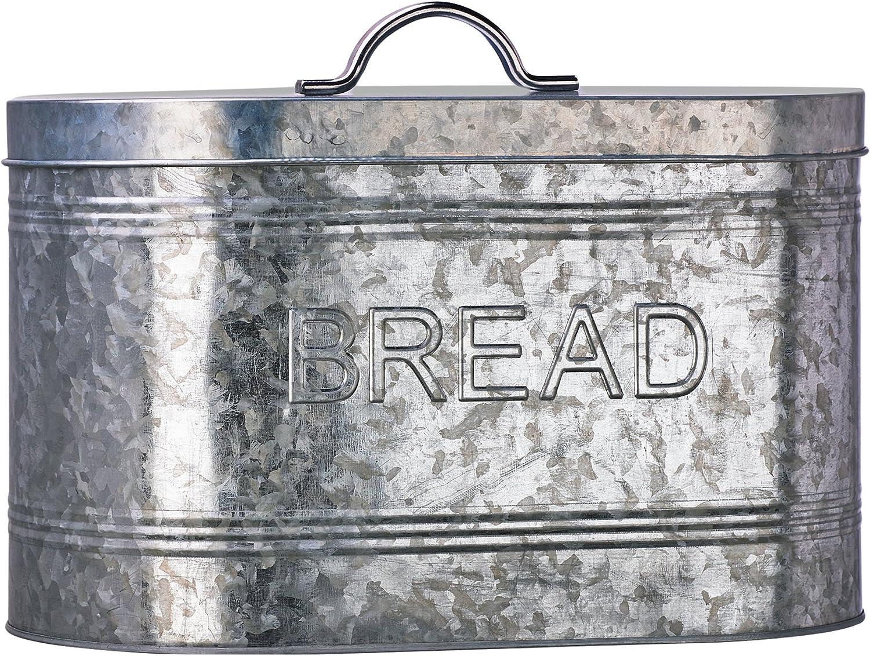 Amici Home, A7CJ009R, Rustic Kitchen Galvanized Metal Bread Storage Bin, 288 oz, Gray