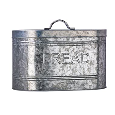 Amici Home, A7CJ009R, Rustic Kitchen Collection Bread Galvanized Metal Storage Canister, Food Safe, Push Top Lid, 288 Ounces