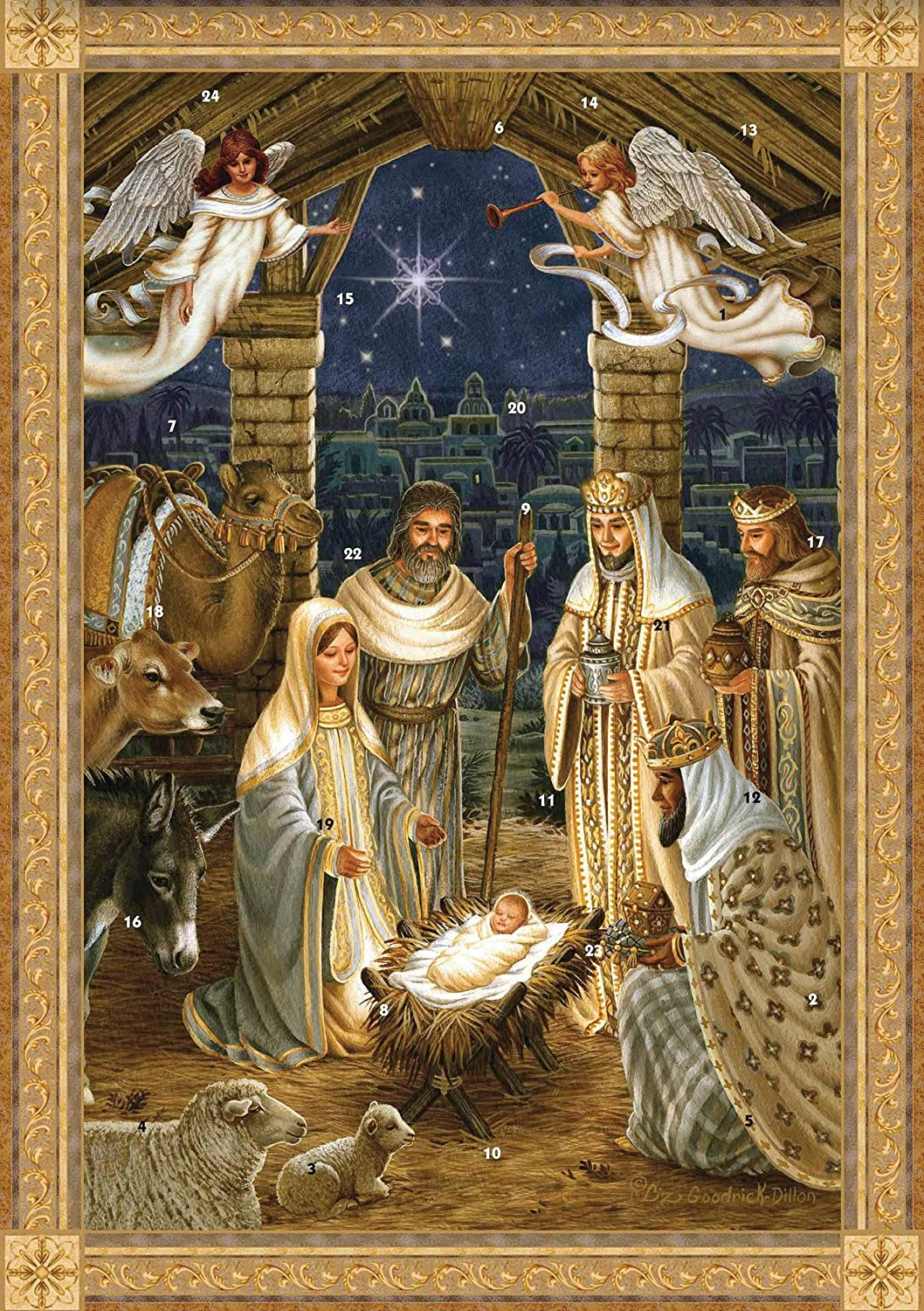 Advent Calendar (WDM9998) - Jesus is Born - With Bible Text & Pictures Woodmansterne