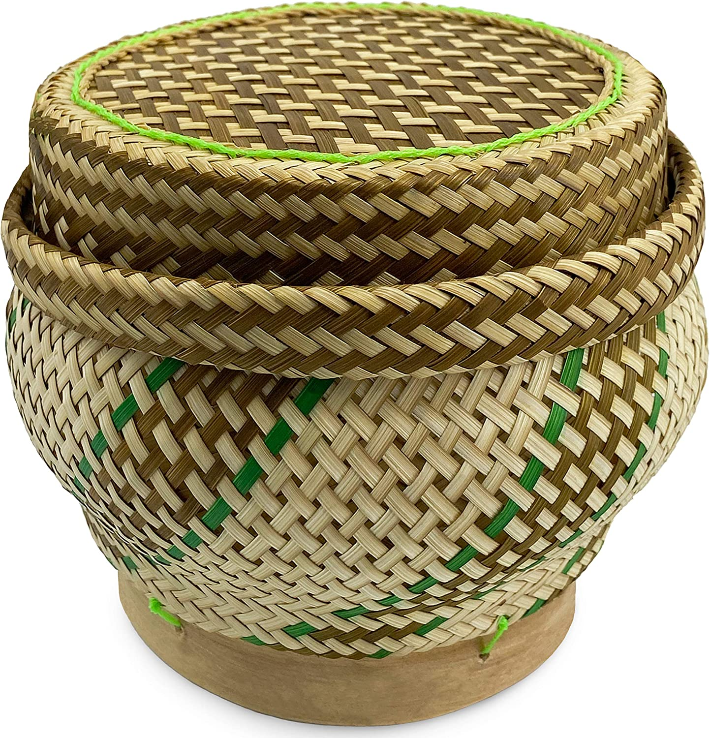 "PANWA Bamboo Sticky Rice Serving Basket Handmade 100% Eco-Friendly Thai Kratip Container - ""Prestige Collection Basil Green"" with Vegetable Plant Based Dye - Food Safe- Family Size - 5 Inch Diameter"