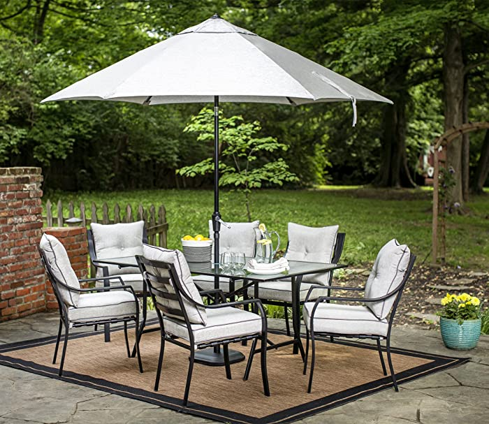 Hanover Lavallette 7 Piece Outdoor Dining Set with Table Umbrella and Base, Grey