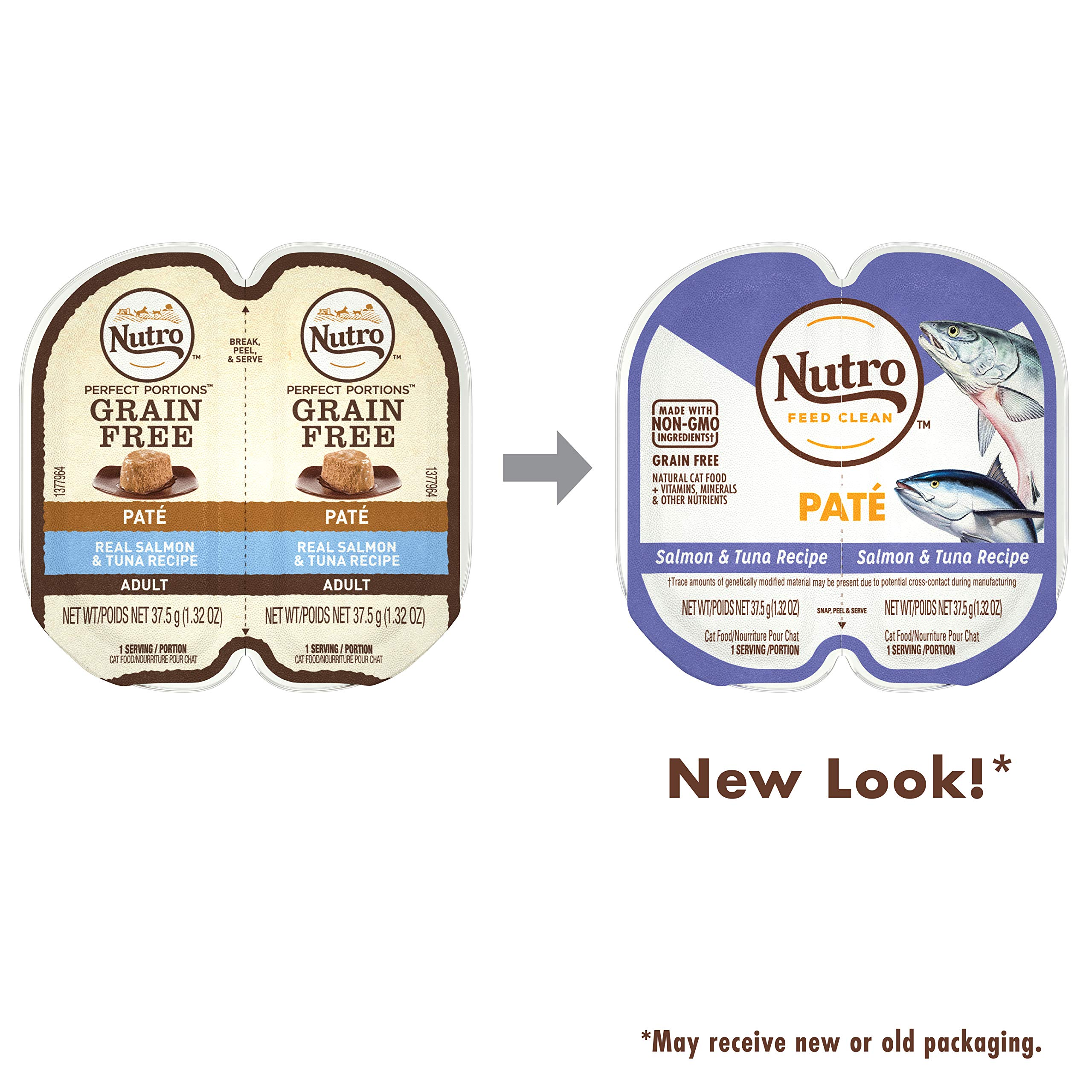 NUTRO PERFECT PORTIONS Grain Free Natural Adult Wet Cat Food Paté Real Salmon & Tuna Recipe, (24) 2.6 oz. Twin-Pack Trays by Nutro
