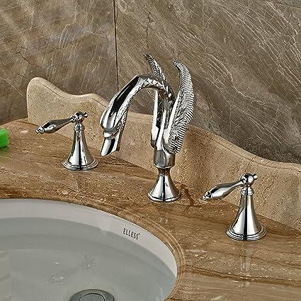 Rozin Bathroom Double Handles Swan Spout Sink Faucet Deck Mount 3 ...