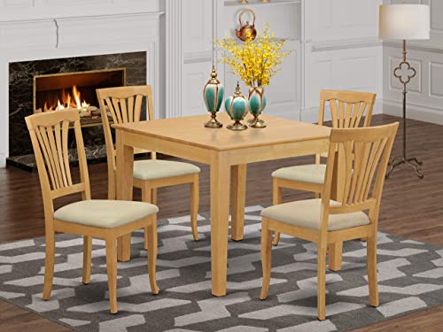 East West Furniture OXAV5-OAK-C 5-Piece Dining Set 4 Dining Room Chairs and a Wooden Table
