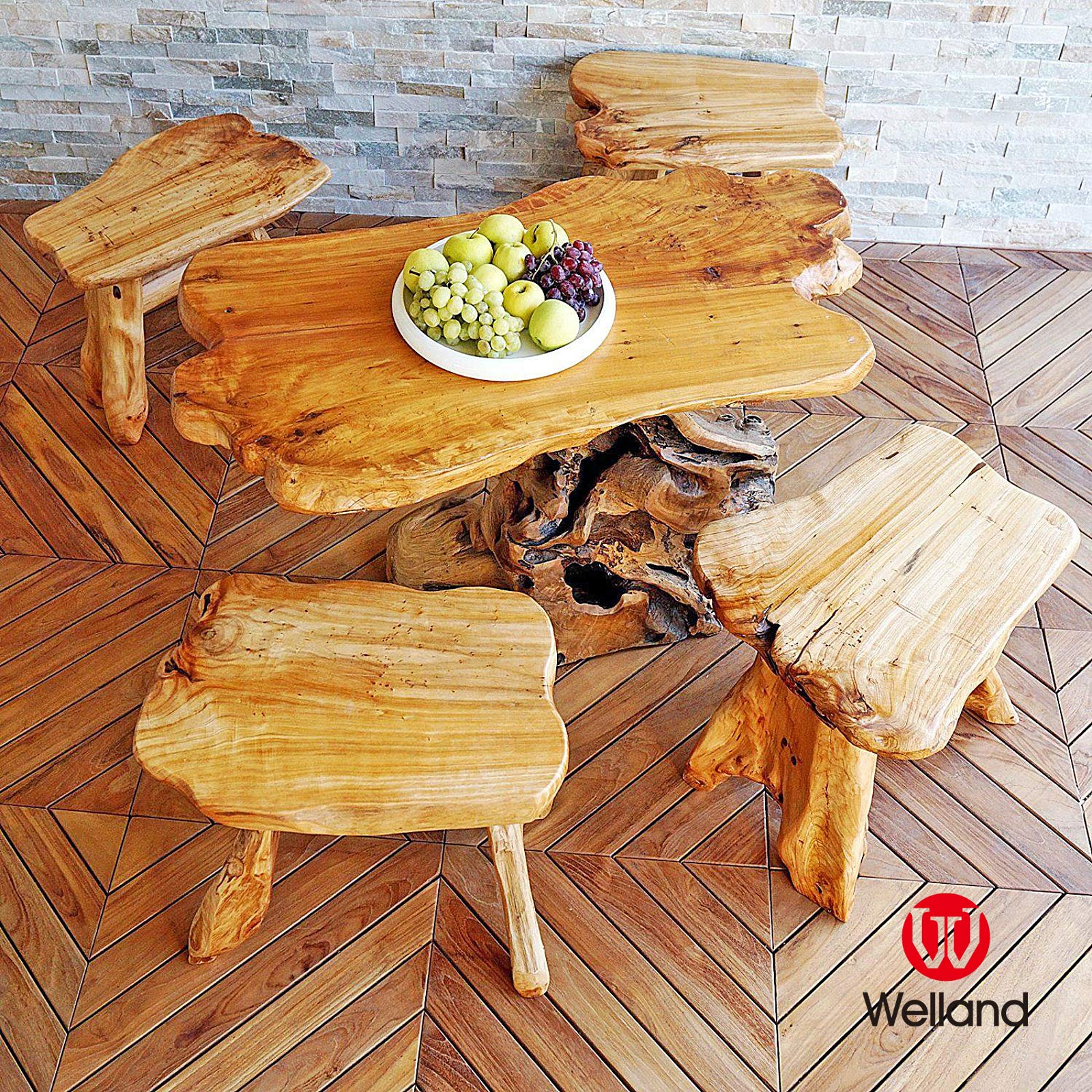 WELLAND Natural Wood Indoor/Outdoor Stool Cedar Garden Bench by WELLAND (Image #3)