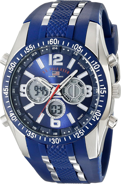 U.S. Polo Assn. Sport Mens US9284 Blue and Silver-Tone Analog/Digital Chronograph Watch