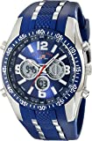 U.S. Polo Assn. Sport Men's US9284 Blue and Silver-Tone Analog/Digital Chronograph Watch
