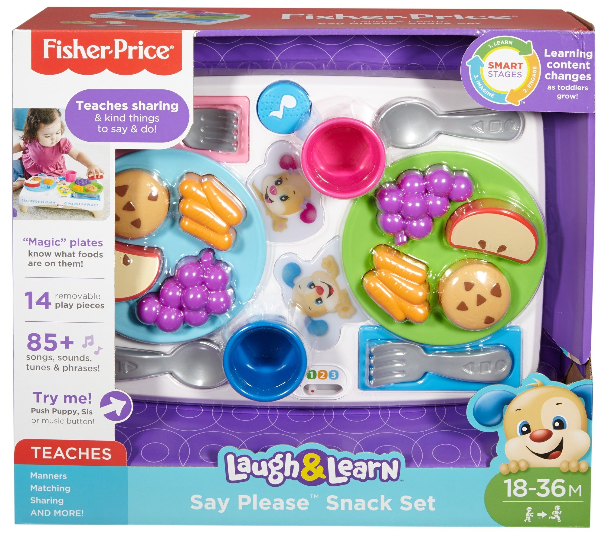 Fisher-Price FBM90 Say Please Snack Set, Laugh and Learn Toddler Kitchen and Food Role Play Toy, Suitable for 18 Months Plus by Fisher-Price (Image #6)