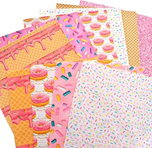 David angie 6pcs Candy Cake Pattern Faux Leather Sheets with 4pcs 4 Way Stretch Bullet Textured Liverpool Fabric Food Theme Mixed Fabric Set for Patchwork Sewing DIY Projects (Assorted)