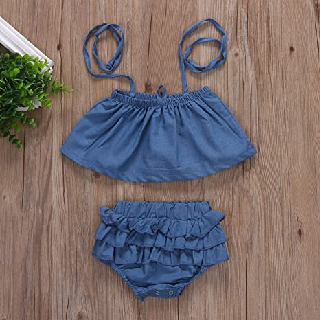 7aeead903 Amazon.com  Newborn Infant Baby Girl Off Shoulder Halter Denim Tops+ ...
