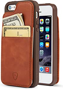 iPhone SE / 5S Walle Case, Vaultskin Eton Armour iPhone SE / 5S Case Wallet, Slim, Minimalist Genuine Leather Case - Holds up to 8 Cards/Top Grain Leather (Cognac)