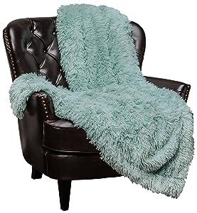 "Chanasya Super Soft Shaggy Longfur Throw Blanket   Snuggly Fuzzy Faux Fur Lightweight Warm Elegant Cozy Plush Sherpa Microfiber Blanket   for Couch Bed Chair Photo Props - 50""x 65"" - Aqua Turquoise"