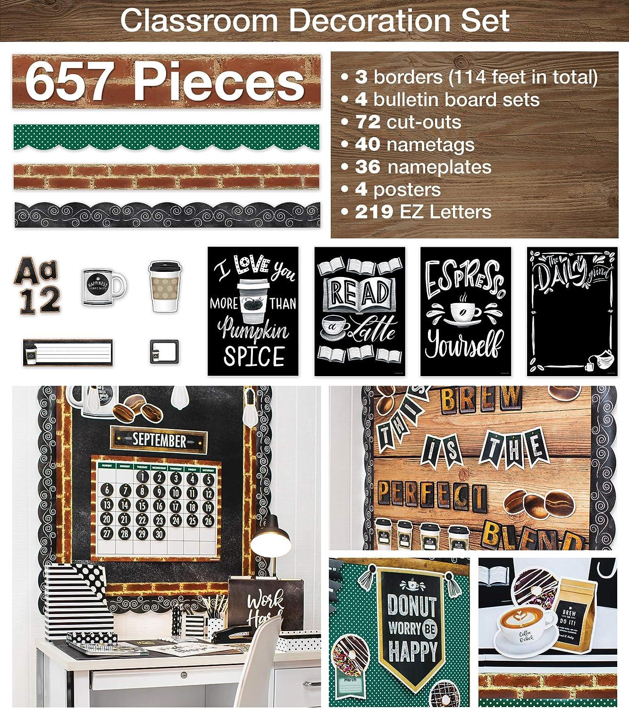 Schoolgirl Style Complete Classroom Decoration Set, Industrial Cafe Classroom Decorations, 657 Pieces