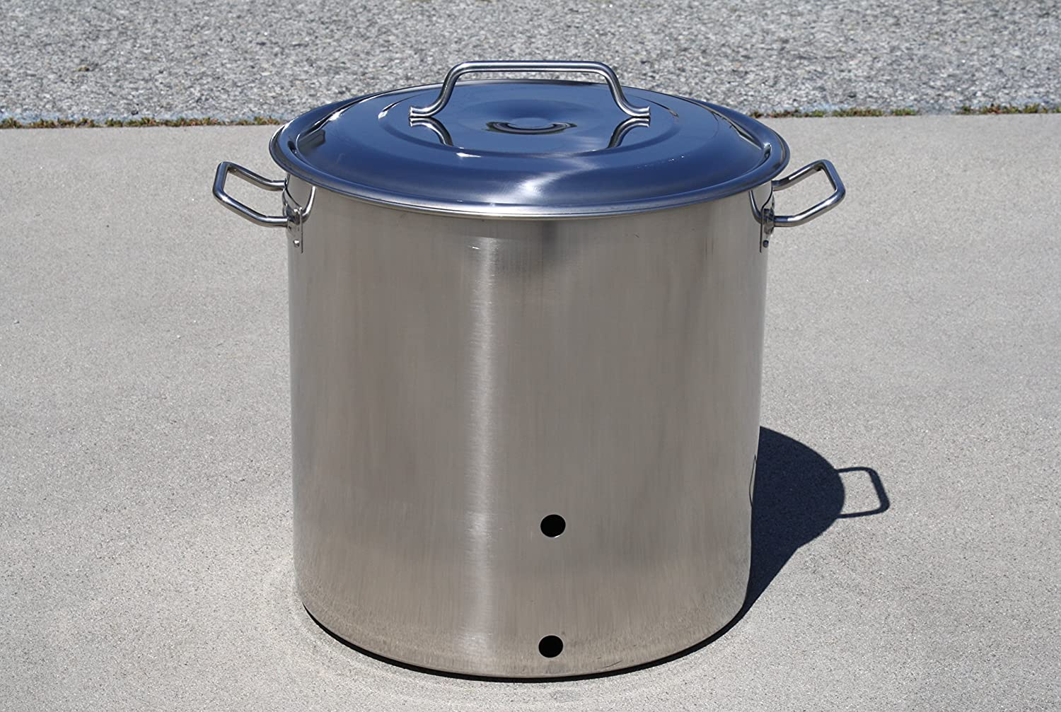 CONCORD Stainless Steel Brew Kettle w/ 2 Precut Holes (80 QT/ 20 Gal)