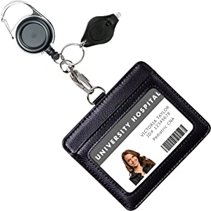 Genuine Leather ID Badge Holder Wallet with Heavy Duty Carabiner Retractable Reel, Key Ring and Metal Clip, 2 Card Pockets. Holds Multiple Cards & Keys. Bonus Key Chain Flashlight. Horizontal. Black