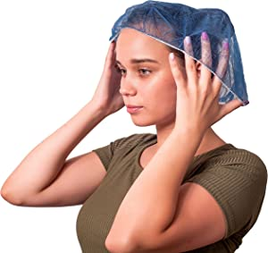 """100 Pack Dark Blue Bouffant Caps 21"""". Hair Caps with elastic stretch band. Disposable Polypropylene Hats. Unisex Protective Hair Covers for food service, medical use. Breathable, Lightweight."""