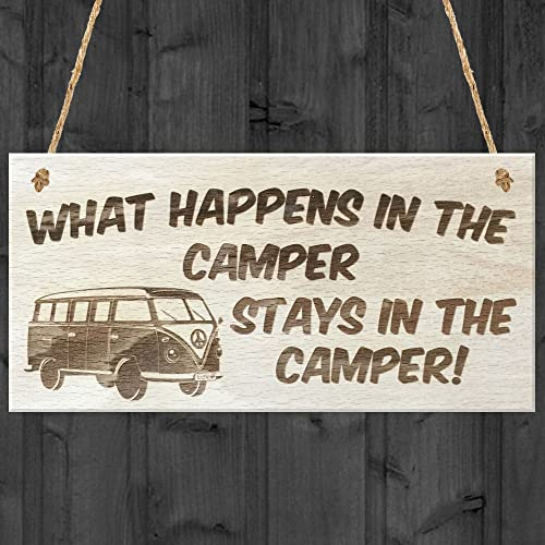 Red Ocean What Happens In The Camper Stays In The Camper! Novelty Plaque, Wood, Brown